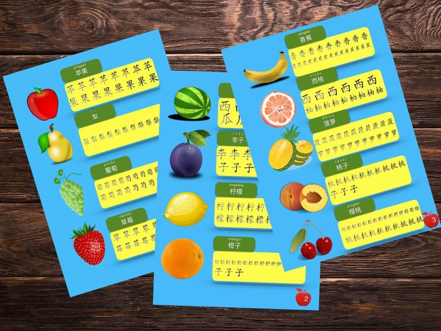 Simple Chinese Characters worksheet [fruits topic]