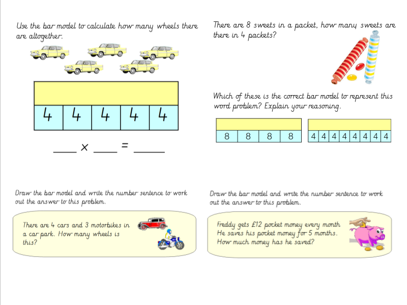 Year 3 Using Bar Models To Solve Word Problems Involving Multiplication
