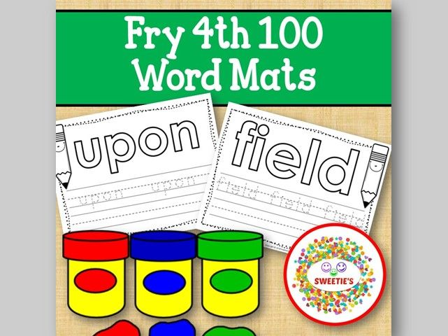 Sight Word Mats:  Fry 4th 100 Word Mats – B/W