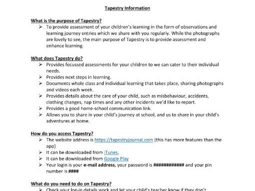Tapestry Learning Journal Q&A for Parents