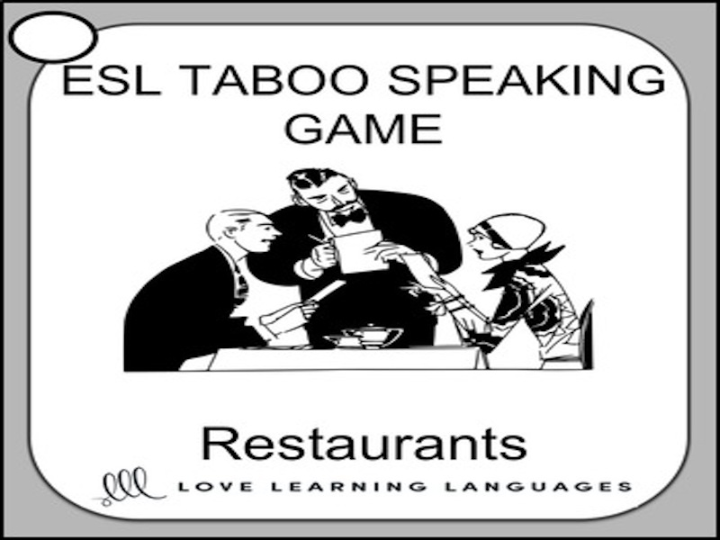 Restaurants - ESL - ELL Taboo Speaking Game