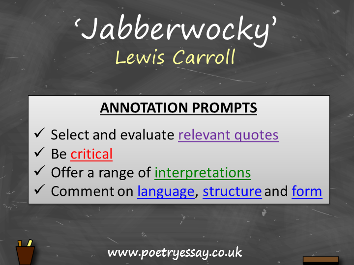 Lewis Carroll Jabberwocky Annotation Planning Table Questions Booklet