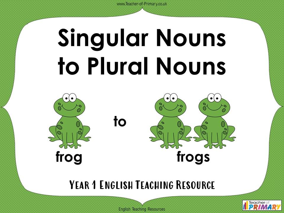 Singular Nouns to Plural Nouns - Year 1