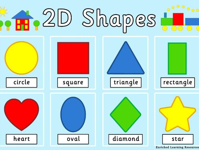MATHS 2D SHAPES - A4 POSTER WITH NAMES