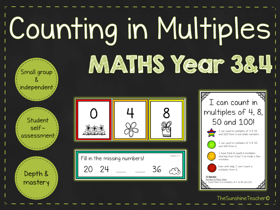 Multiples - Year 3&4 - Math - Place Value - 4 NO PREP Resources Bundle