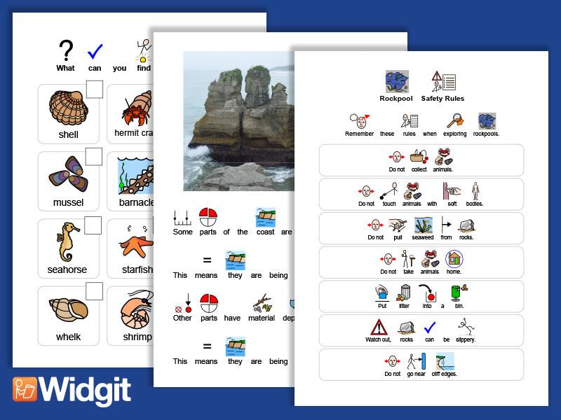 Seaside - Activities and Safety Sheets with Widgit Symbols