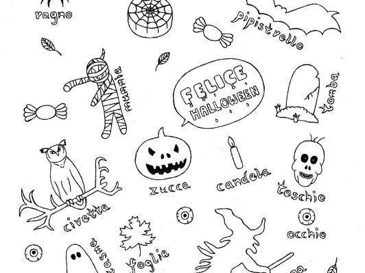 Italian Halloween color and vocabulary sheet fun no prep worksheet