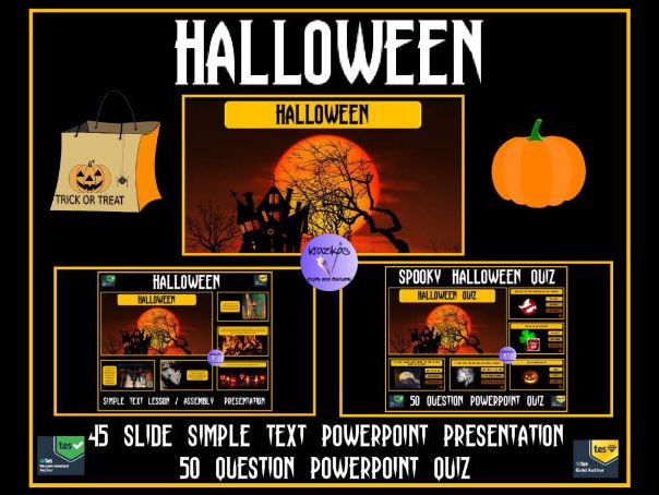 Halloween SIMPLE TEXT Lesson / Assembly Presentation and 50 Question Halloween Quiz