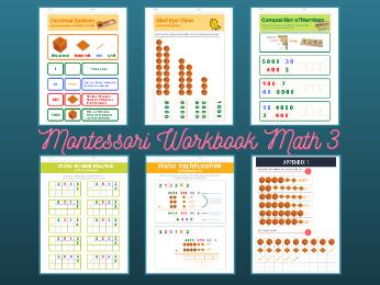 Montessori Math - Decimal System Workbook Level 3 for Ages 5-7