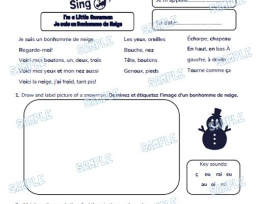 French Primary School Worksheet & MP3 Music File - Christmas Theme (I'm a Little Snowman)