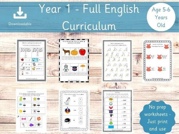 Year 1 English - Full Curriculum Worksheets