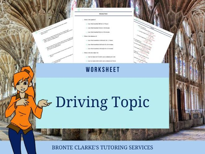 Driving Topic Maths Worksheet Stage 6