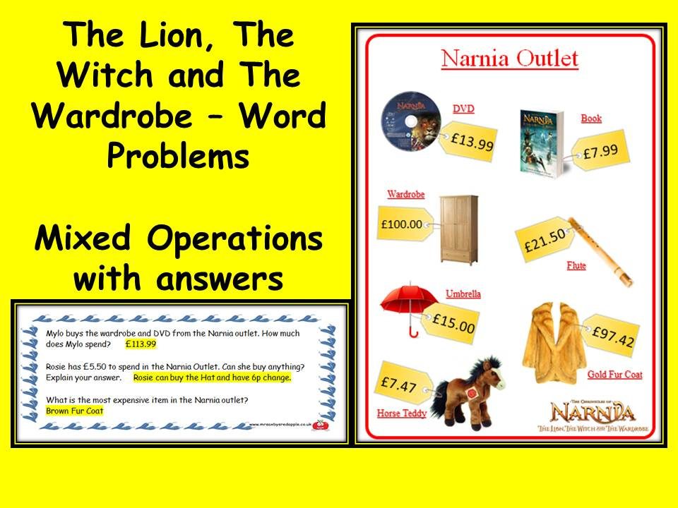 The Lion, The Witch and The Wardrobe word problems maths addition subtraction