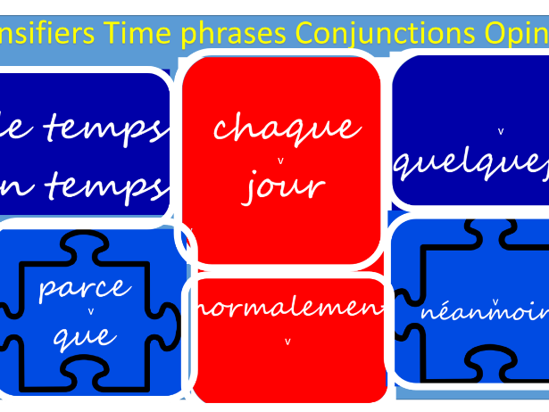 Intensifiers/Time Phrases/Conjunctions/Opinions: Spanish Classroom Display: