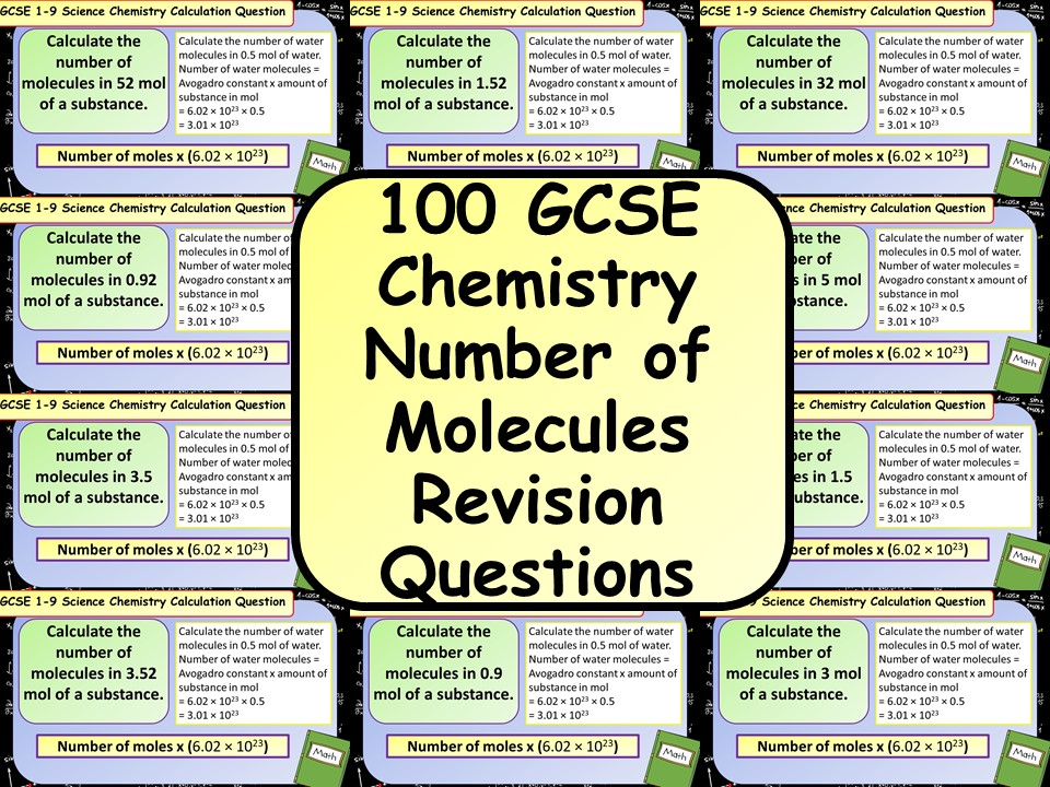 £1 ONLY: 100 GCSE Chemistry (Science) Number of Atoms / Molecules  Calculation Revision Questions
