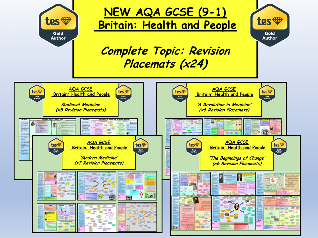 NEW AQA GCSE (9-1) Britain: Health and People –COMPLETE TOPIC SET of Revision Placemats
