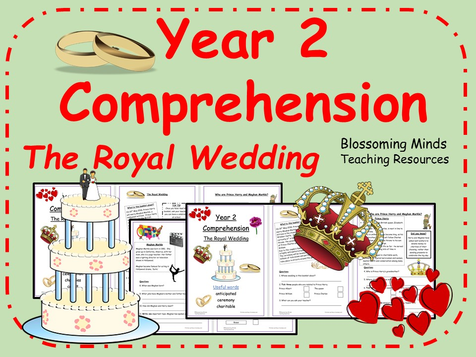 Royal Wedding - Year 2 Reading Comprehension (Prince Harry and Meghan Markle)