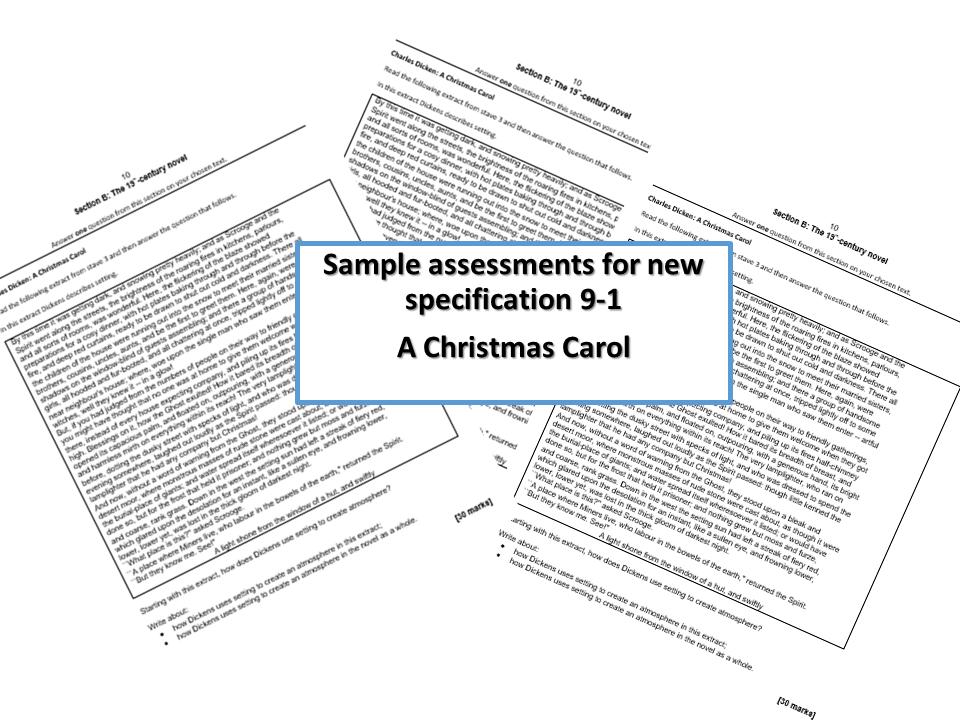 A Christmas carol AQA GCSE 9-1 Five sample  asssessments