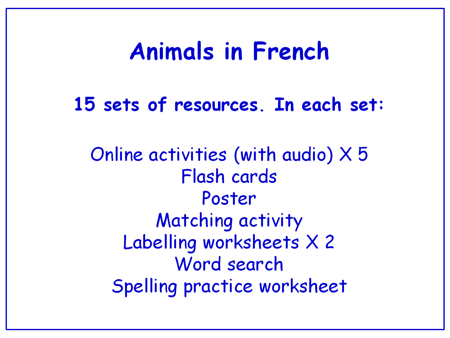 Animals in French  Worksheets, Games, Activities and Flash Cards (with audio)