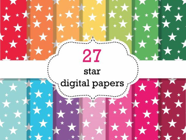 27 Star Digital Papers Scrapbook Papers, Star Background Papers