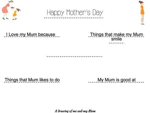 Mother's Day activity sheet for KS1 and KS2