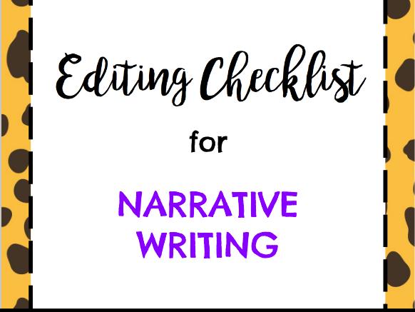 Editing Checklist for Narrative Writing