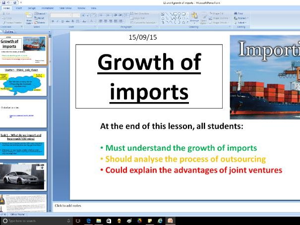 Growth of imports - Globalisation - A level Business / Economics