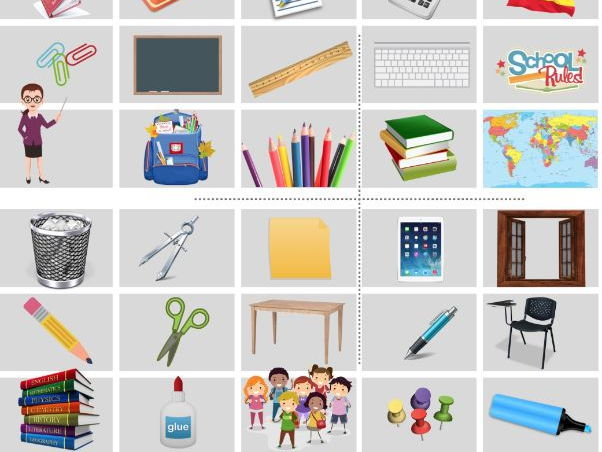 Spanish bingo and memory card about classroom objects - Bingo y memory 'objetos de la  clase'