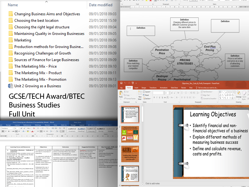 11 Lessons Level 2 Tech Award/BTEC Unit 1 Exploring Business/GSCE Unit 2 - Growing Businesses