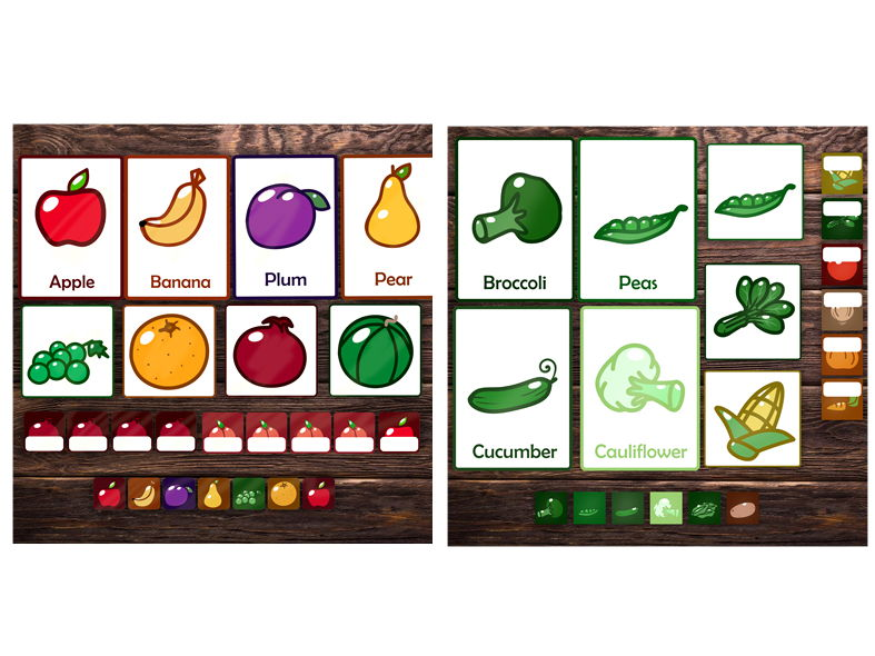 Fruit and Vegetables topic - Fruit and vegetables flash cards, labels and icons