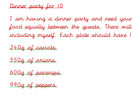 Dividing by 10 and 100 - Dinner Party!