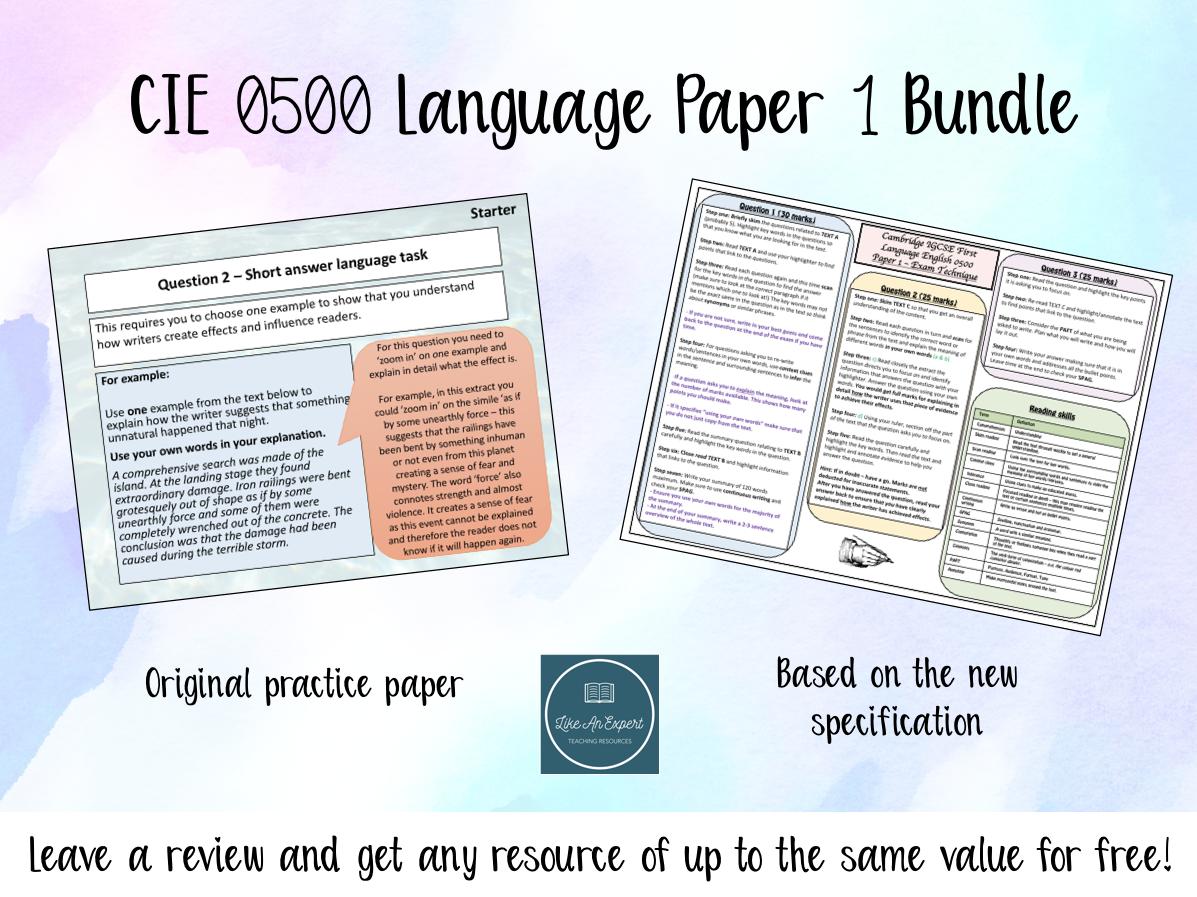 Cambridge IGCSE 0500 English Language Paper 1 Bundle