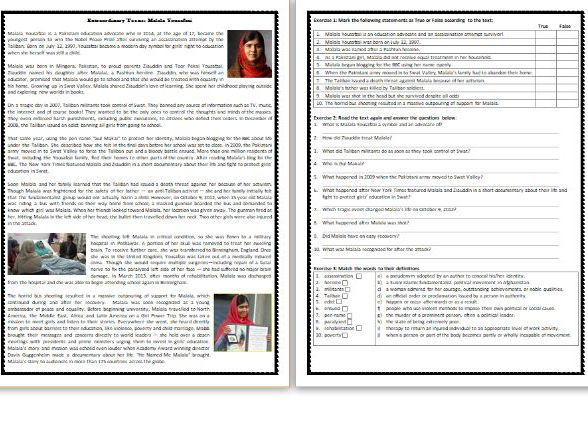 Extraordinary Teens: Malala Yousafzai - Reading Comprehension Worksheet / Text