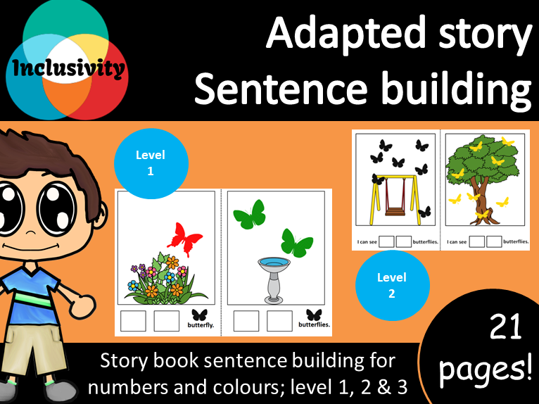 Adapted special needs Story sentence building colours and counting numbers 1-10; Levels 1, 2 & 3