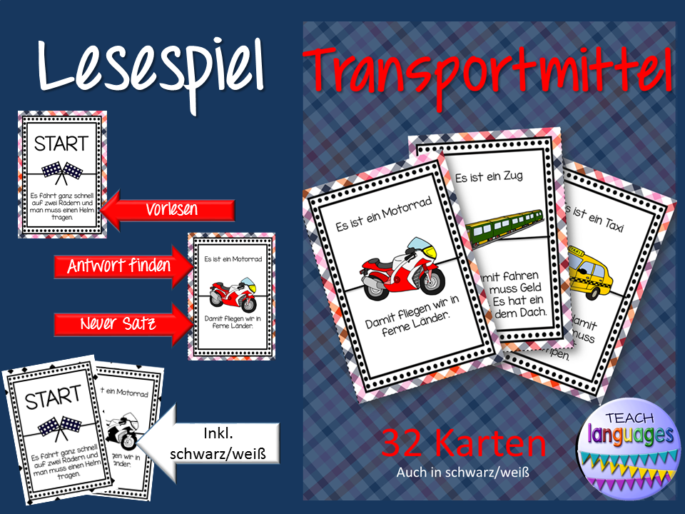 "German Game- Lesespiel ""Transportmittel"""