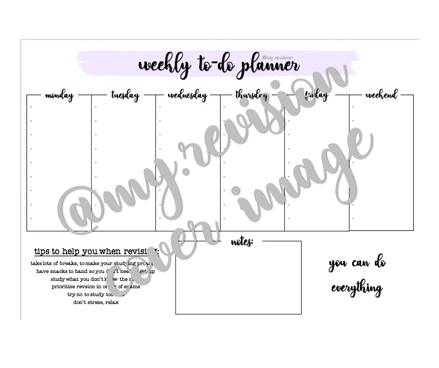 image about Time and to Do Planner named Weekly Towards-Do Planner as a result of @my.revision through my-revision