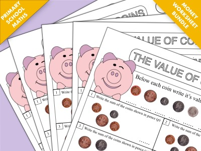 Primary Maths Worksheet Bundle: The Value of Money and Calculating Change
