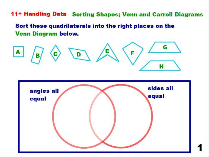 Sorting Shapes - Venn and Carroll Diagrams