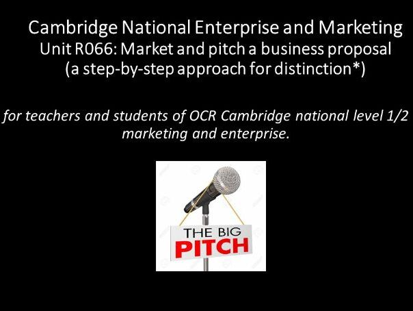 Unit R066: Market and pitch a business proposal  (Cambridge National Enterprise and Marketing )