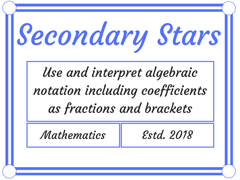 Use and interpret algebraic notation including coefficients as fractions and brackets