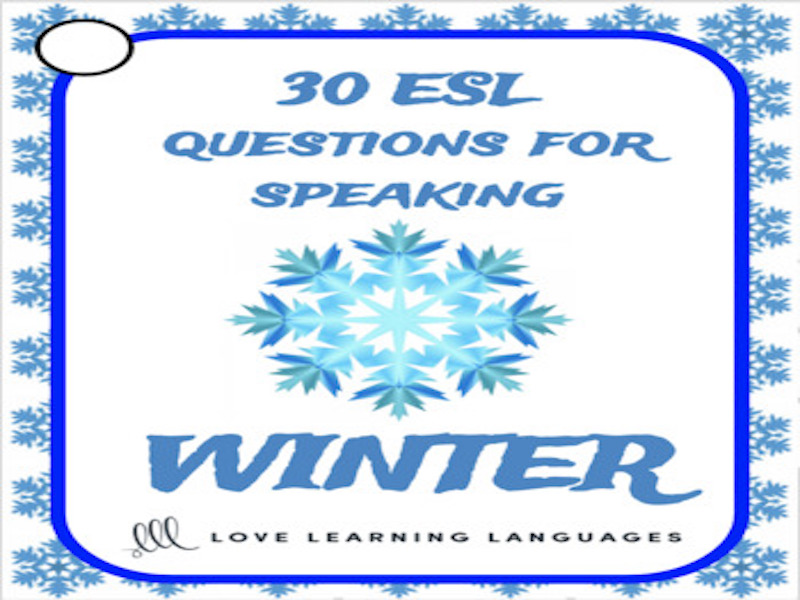 Winter vocabulary - 30 ESL - ELL Winter speaking prompt cards