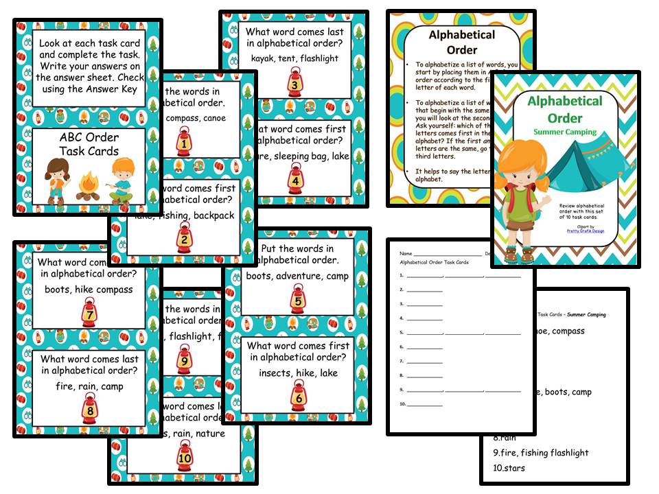ABC Order Task Cards - Summer Camping