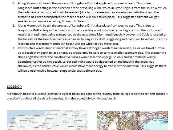 Example GCSE/A level Geography coursework- coastal landscapes
