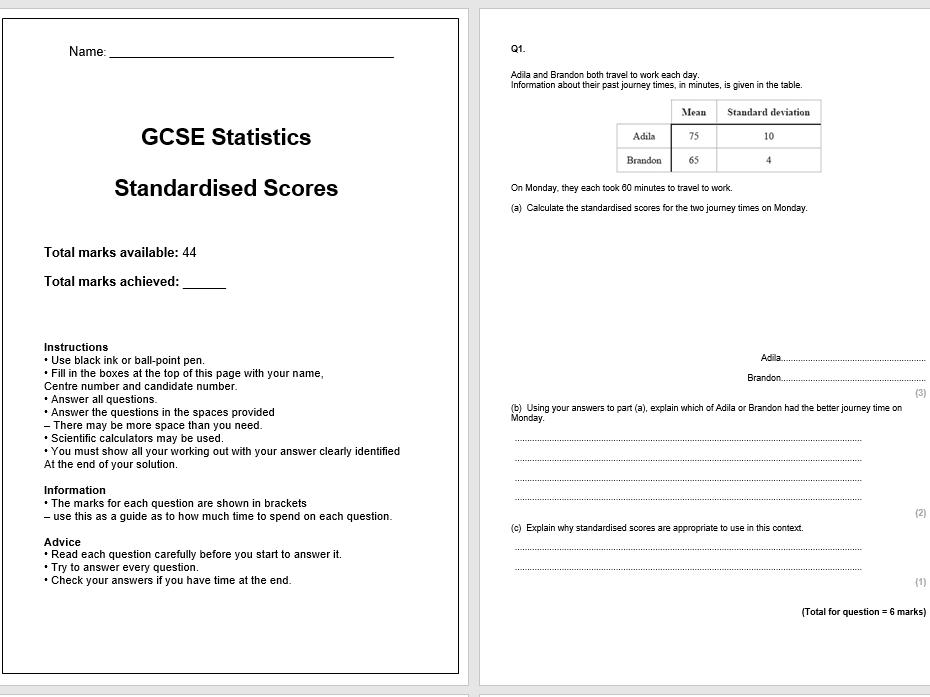 Standardised Scores Exam Questions (GCSE Statistics)
