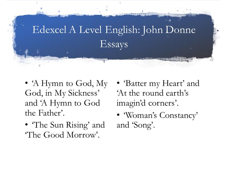 Edexcel A Level John Donne Essays