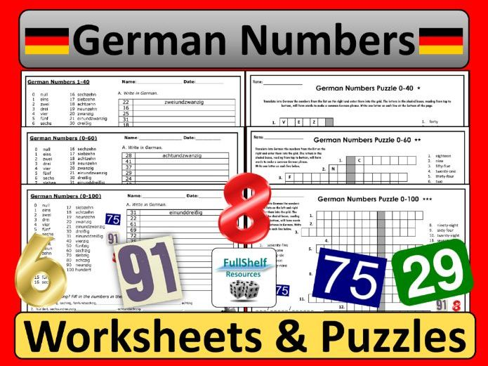German Numbers Worksheets and Puzzles