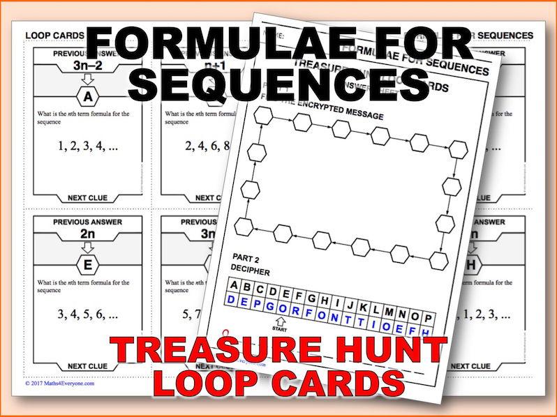 Formulae for Sequences (Treasure Hunt)