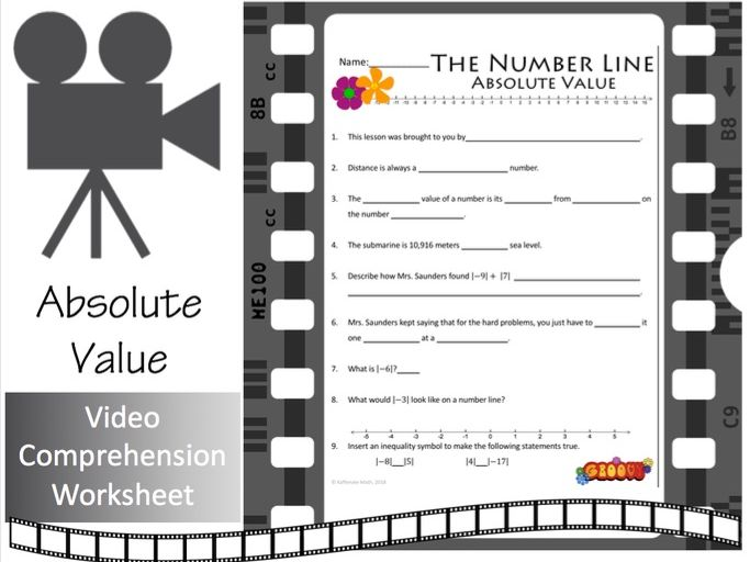 The Number Line (Part 3):  ABSOLUTE VALUE!    (Video Comprehension Worksheet)