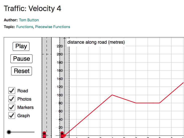 Distance time graphs on mobile devices: questions and notes sheet (for use with Traffic - geogebra)