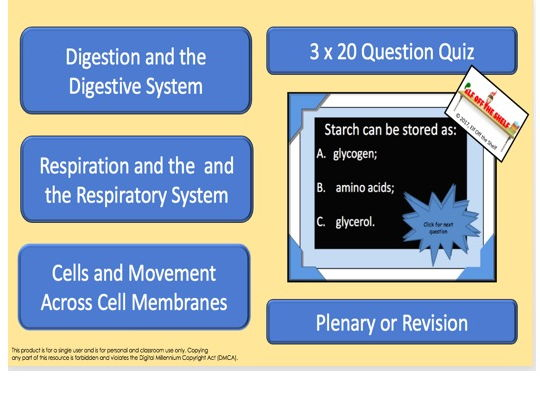 Biology KS4 Interactive  Three Quiz for Revision/Plenary